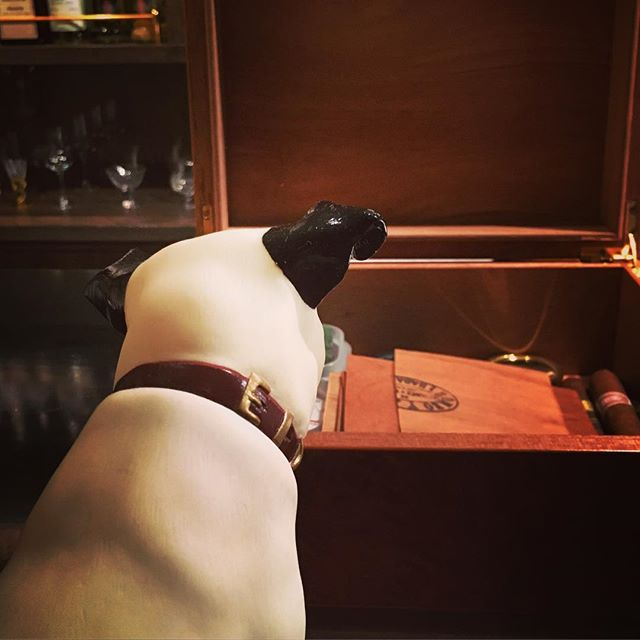 It was cheers for good work this week too.And #goodnight .Hope wonderful day tomorrow.#bartool #bar #authenticbar #gyoutoku #gyotoku #hismastersvoice #victor #nipper #cigar #バーツール #行徳 #ニッパー #ビクター #シガー #葉巻