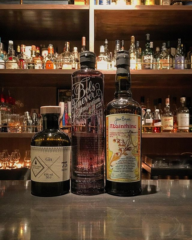 【new arrival bottles 3】L to RDistilleries de Paris Bel AirBols GeneverJean Boyer absinthie #bar #authenticbar #bartool #distilleriedeparis #belair #bolsgenever #bols #gin #craftgin #jeanboyer #absinthine #absinthe #ディスティレリドパリ #ボルス #ジン #クラフトジン #アブサン  #行徳 #行徳bar #船橋 #浦安